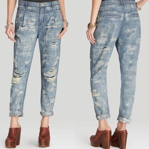 Free People Tapered Destroyed boyfriend jeans